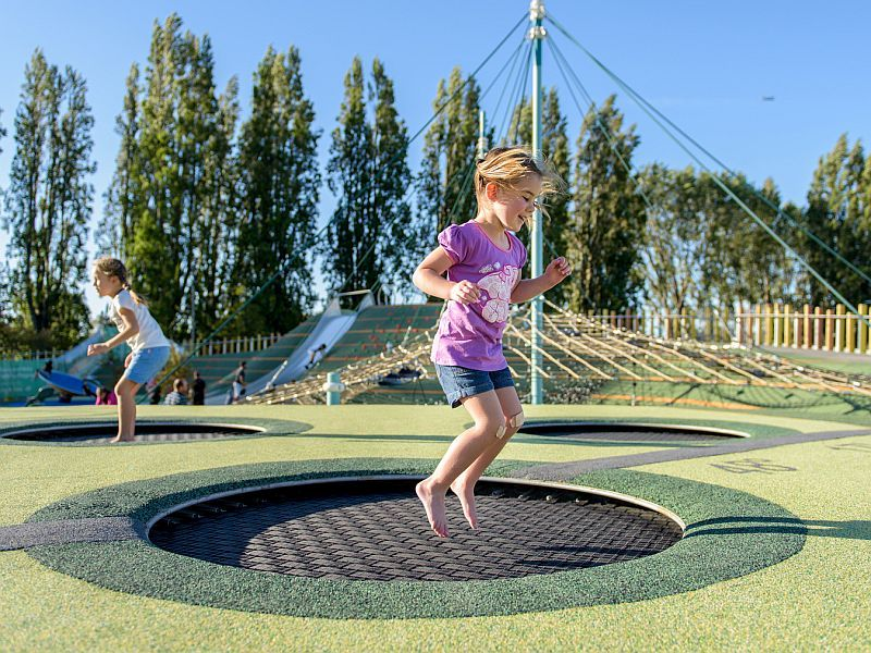 jumping in trampoline