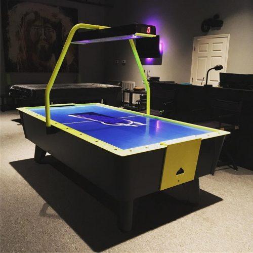 Dynamo Blue Streak Coin Operated Air Hockey Table with Overhead Scoring Light