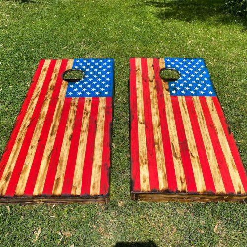 Tailgating Pros Rustic American Flag Cornhole Boards